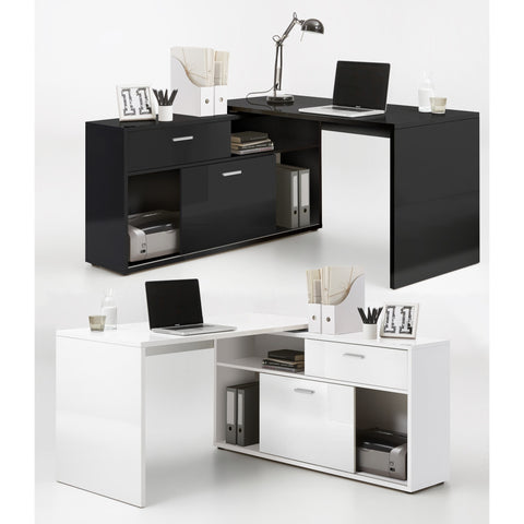 """Diego"" HIGH GLOSS L-Shape Corner Desk, Reversible PC Computer Desk."