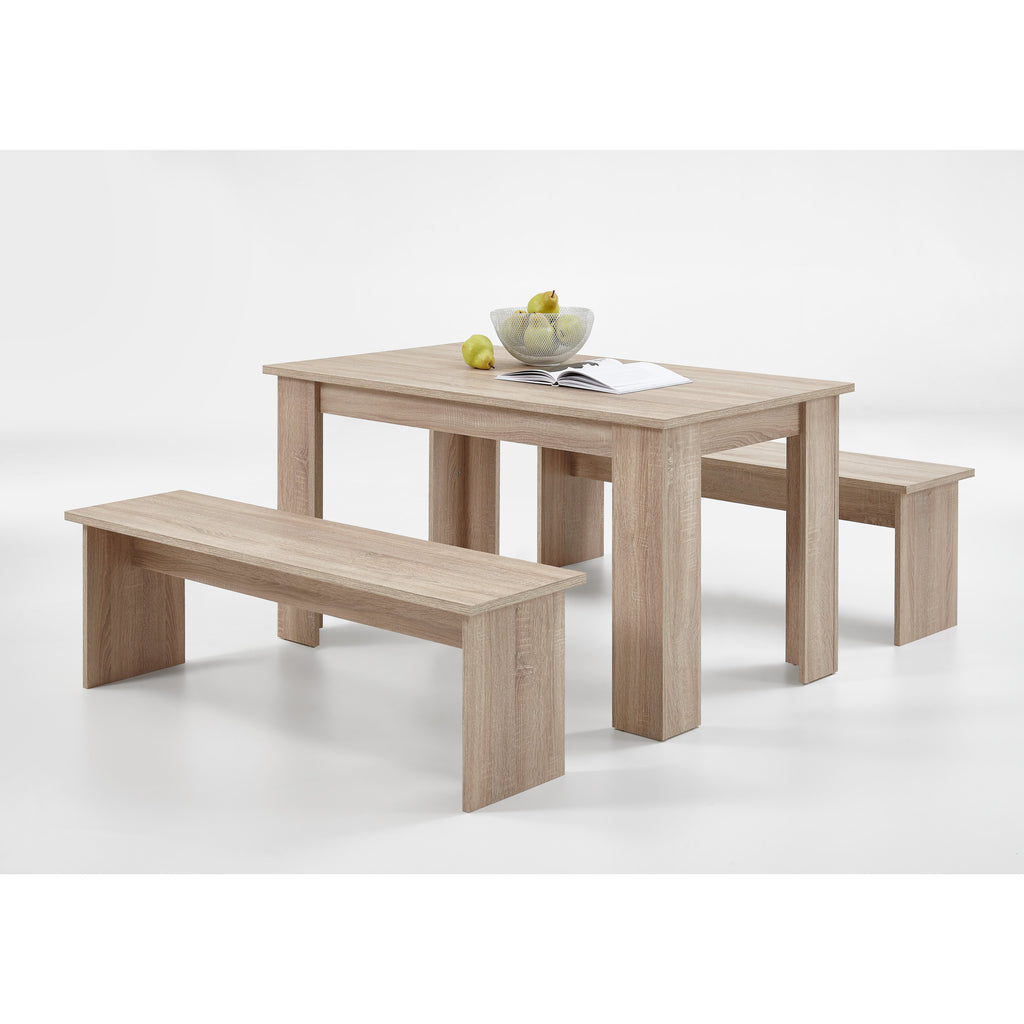 """Dornum"" Kitchen Dining Table & Matching Benches Bench Set in Washed Oak, [product_variation] - Freedom Homestore"