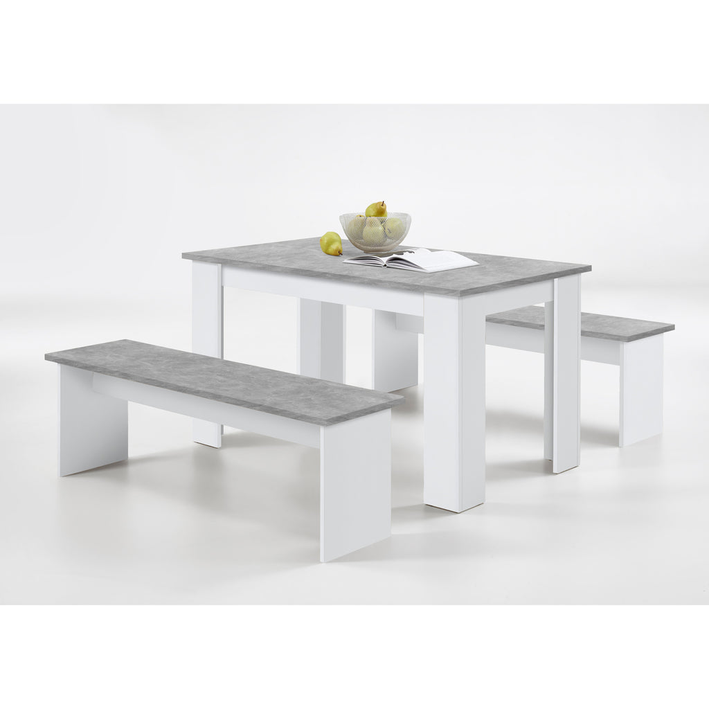 "ASSEMBLY INCLUDED ""Dornum"" Kitchen Dining Table & Matching Bench Set in White & Stone., [product_variation] - Freedom Homestore"
