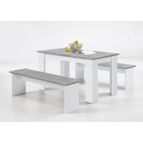 "ASSEMBLY INCLUDED ""Dornum"" Kitchen Dining Table & Matching Bench Set in White & Stone."