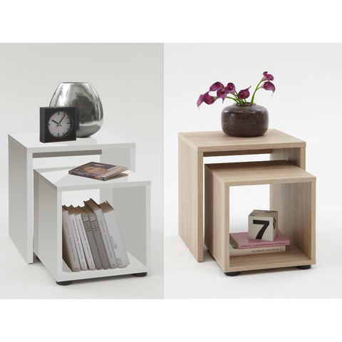 'Duo' Designer Bedsides / Nesting Tables. Wood Finish. Choice of Colour.