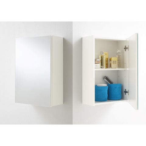 """Elda"" Simple White & Mirrored Bathroom Cabinet / Toiletry Cupboard."