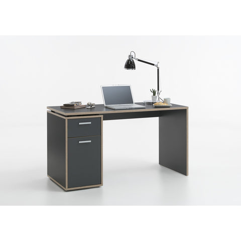 """Elias"" PC Computer Desk, With Drawer & Cupboard. Anthracite & Oak"