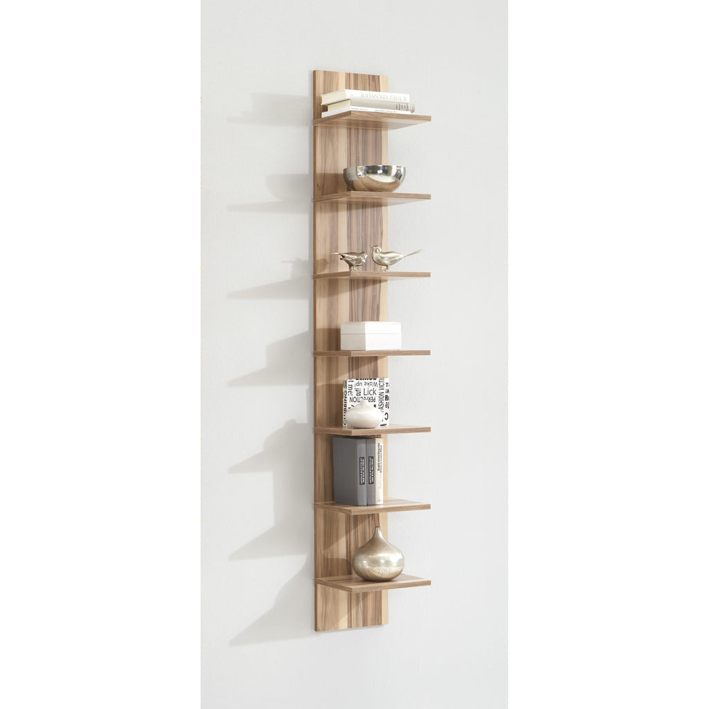 "*Clearance* ""Flip"" 7-Tier Vertical Wall Shelf Display Unit, Baltimore Walnut Finish., [product_variation] - Freedom Homestore"