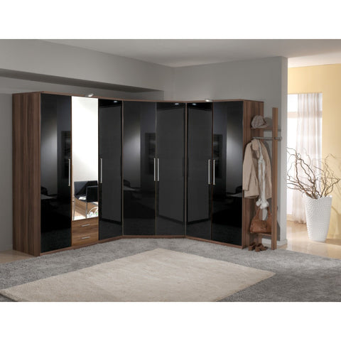Qmax German Made Bedroom Furniture - Grande Wardrobe Range - Black/Walnut, [product_variation] - Freedom Homestore