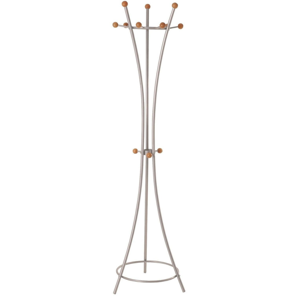 Modern 'Helix' Metal Coat Stand In Aluminium & Wood Finish, [product_variation] - Freedom Homestore