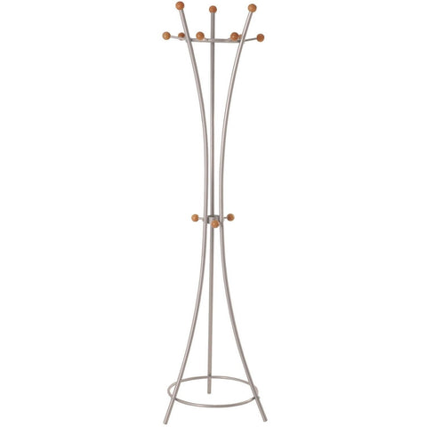 Modern 'Helix' Metal Coat Stand In Aluminium & Wood Finish