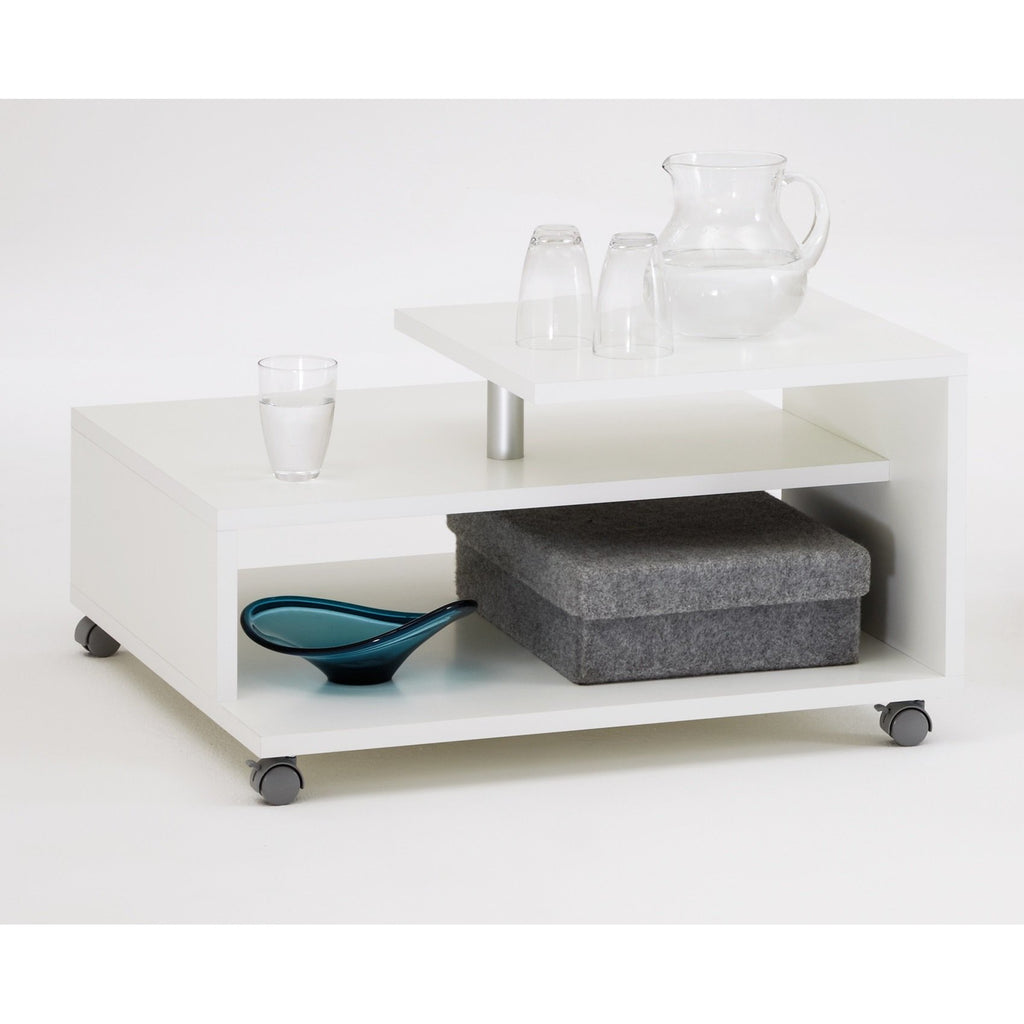 """Henri"" Designer Offset Coffee / Side / End Table. White., [product_variation] - Freedom Homestore"