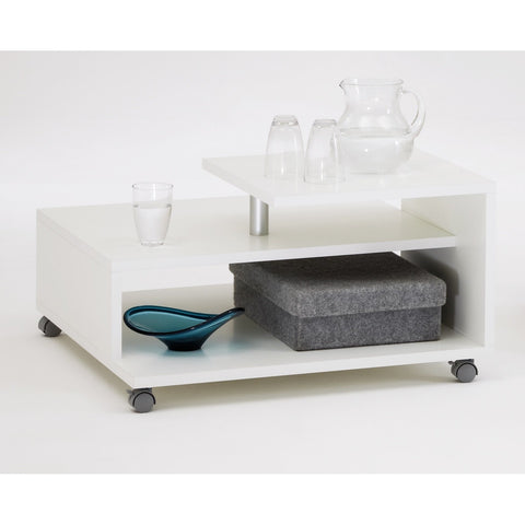 """Henri"" Designer Offset Coffee / Side / End Table. White."