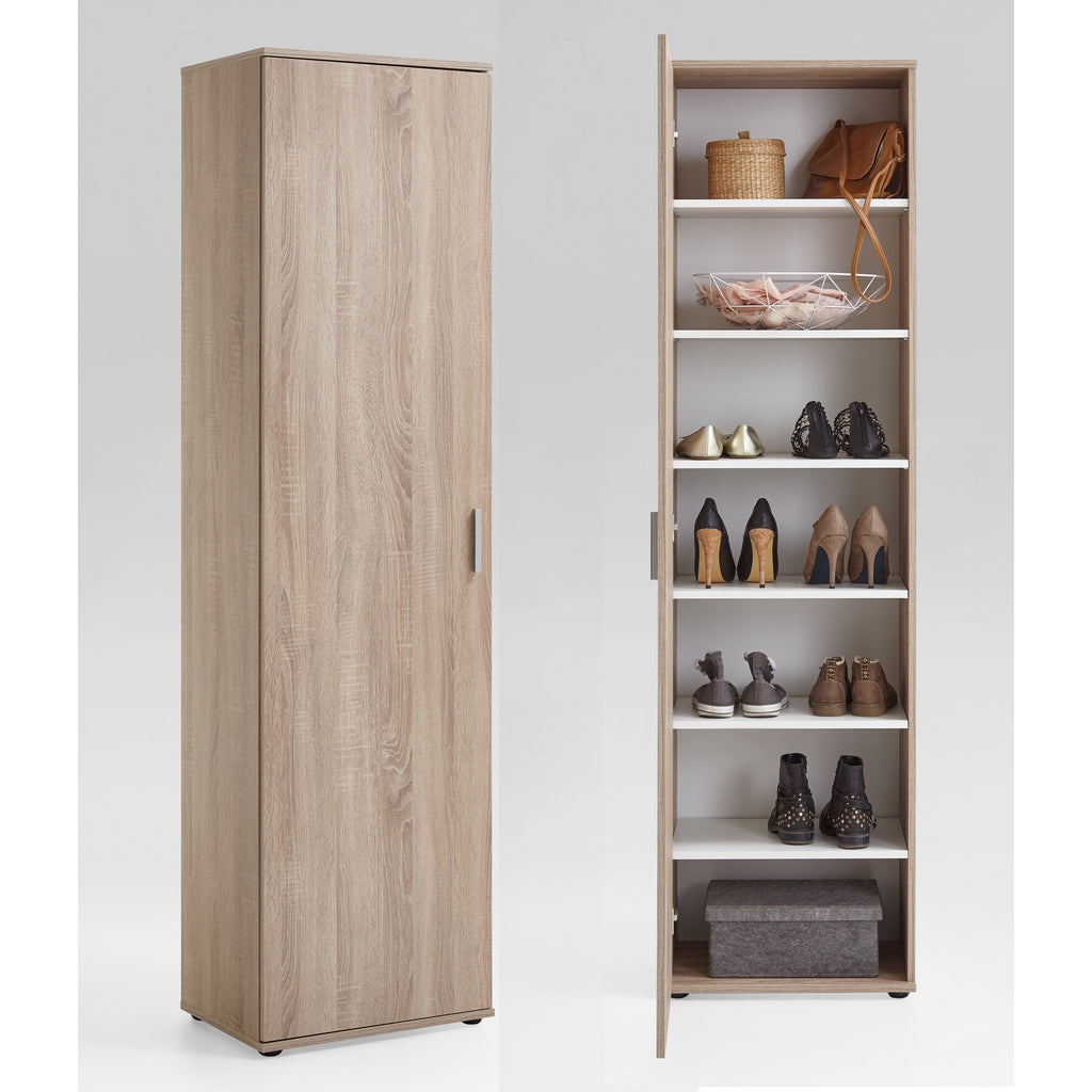 """Inca"" Tall Shoe Storage Cabinet/Cupboard. Washed Oak., [product_variation] - Freedom Homestore"