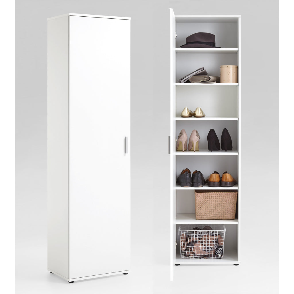 """Inca"" Tall Shoe Storage Cabinet/Cupboard. White., [product_variation] - Freedom Homestore"