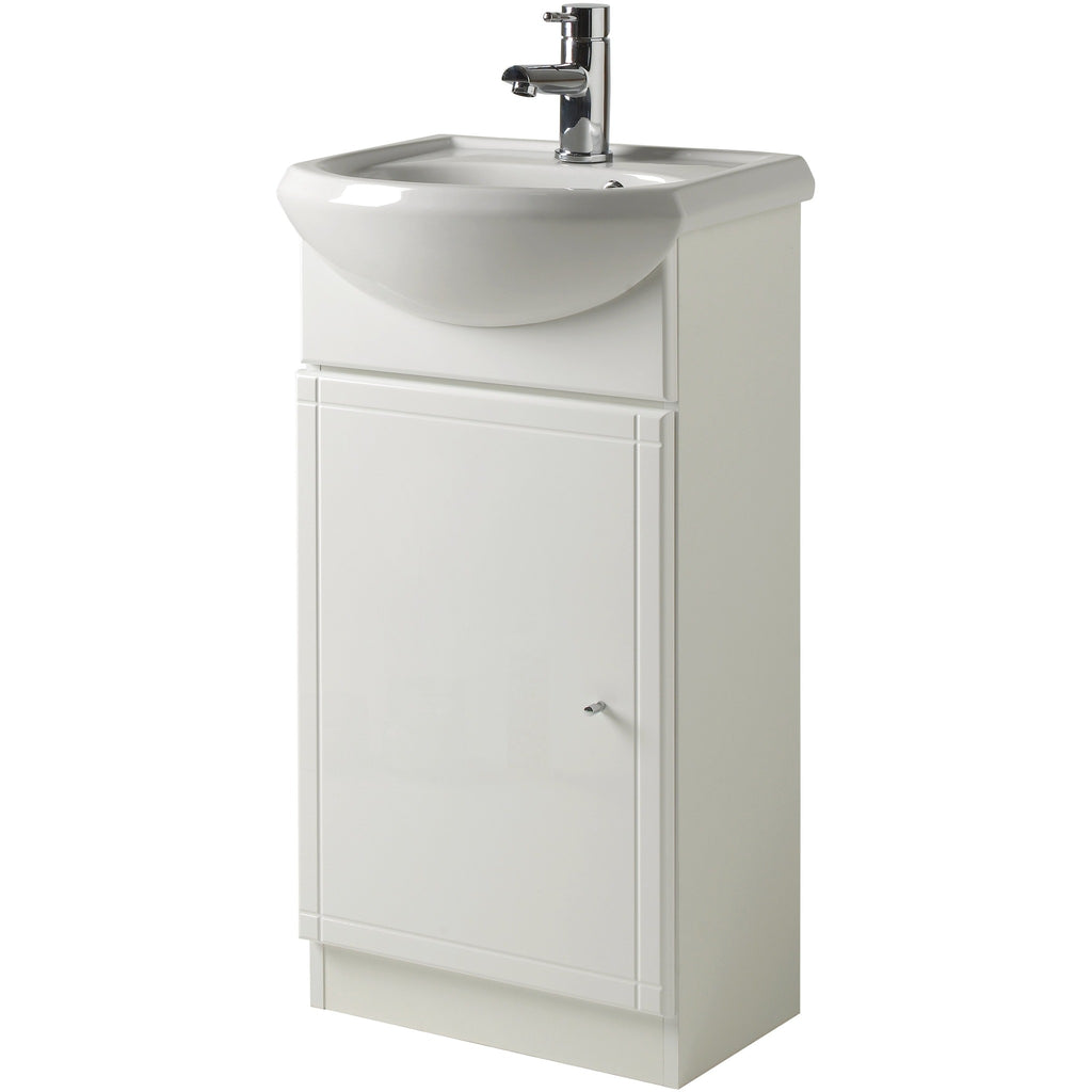 Focus Jasmine Bathroom Vanity Unit w/Sink - High Gloss White - 450mm 45cm, [product_variation] - Freedom Homestore