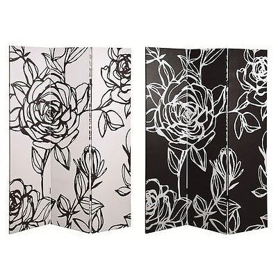 Fantasy Flower 3-Pane Canvas Art Room Divider / Privacy Screen.