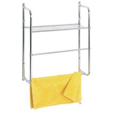 Chrome Wall Mounted Towel Rail & Bathroom Shelf 90254, [product_variation] - Freedom Homestore
