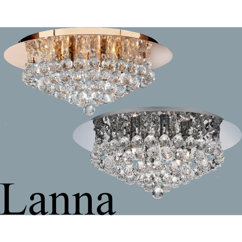 "Marco Tielle ""Lanna"" Six Light Ceiling Chandelier with Clear Droplets  RRP ?149, [product_variation] - Freedom Homestore"