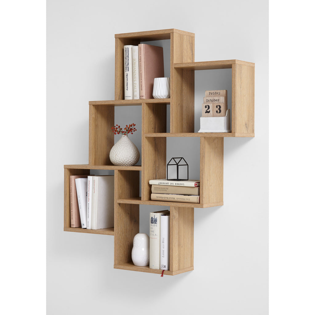 """Laurio"" Display Shelving Decorative Designer Wall Shelf in Oak or White, [product_variation] - Freedom Homestore"
