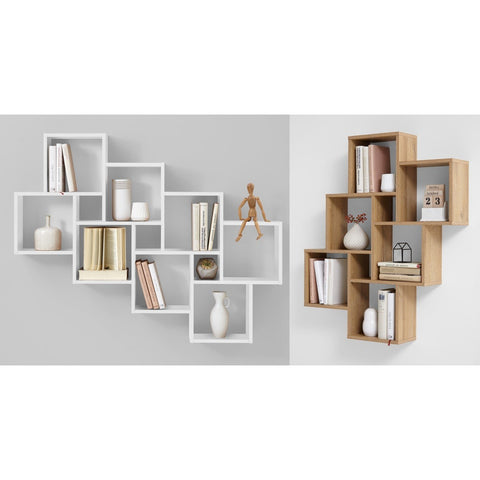 """Laurio"" Display Shelving Decorative Designer Wall Shelf in Oak or White"