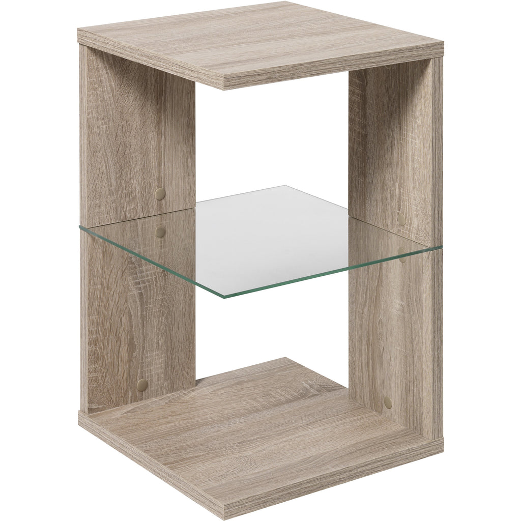 "*Clearance* Lina"" Designer Side/End Table in Washed Oak. MDF with Glass Shelf, [product_variation] - Freedom Homestore"