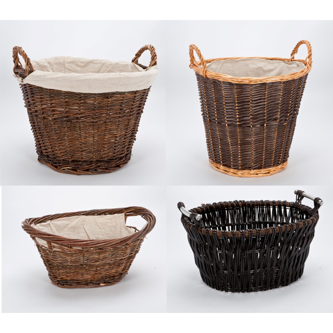Inglenook Fireside Wicker Log Basket Range With Handles. Fireplace Companion.