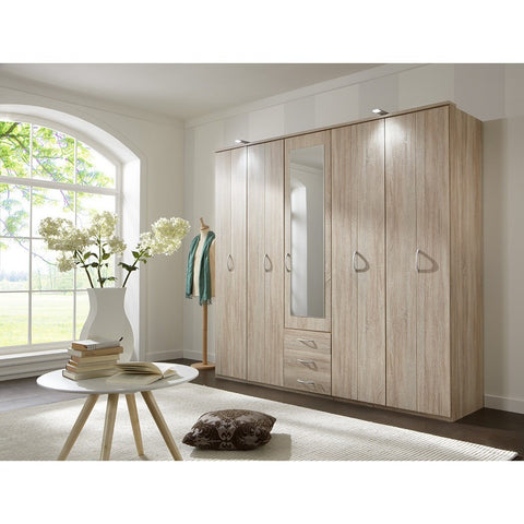 Qmax Bi-Fold Door Wardrobe - 'Lola' Range - Washed Oak- German Bedroom Furniture, [product_variation] - Freedom Homestore
