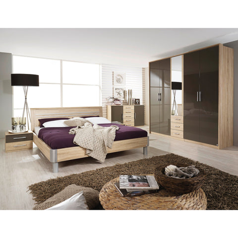 Rauch 'Lyon' Range German Made Bedroom Furniture. Oak & HighGloss Lava Brown