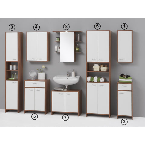 """Madrid"" White & Walnut Matching Bathroom Cabinet Range."