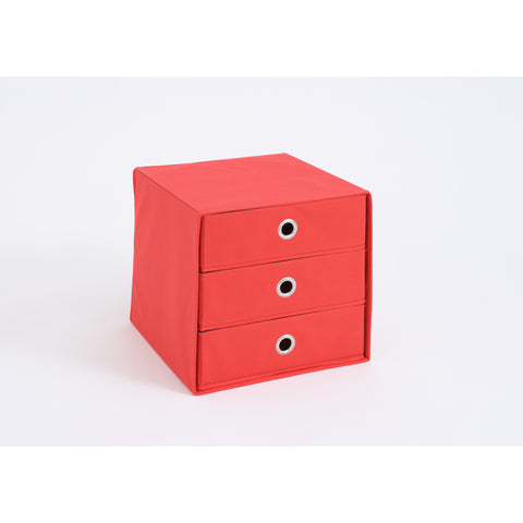"""Mega"" Versatile Canvas Storage Boxes., Mega-31 With Drawers / Red"