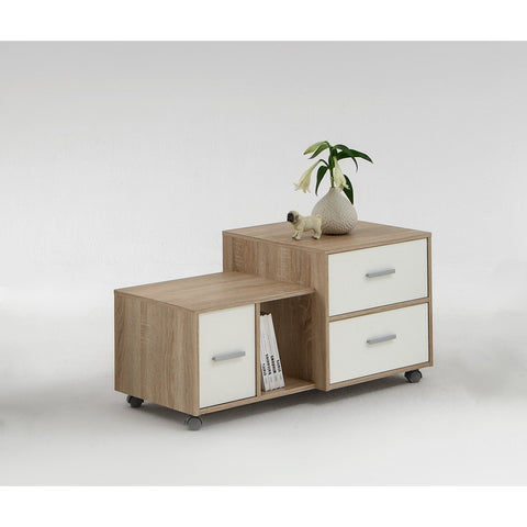 """Mia"" Designer Offset Side / End / Bedside Table Cabinet. Quirky & Unique"