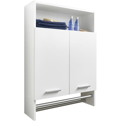 """Motril"" Bathroom Cabinet Cupboard With Shelf & Towel Rail. White, [product_variation] - Freedom Homestore"