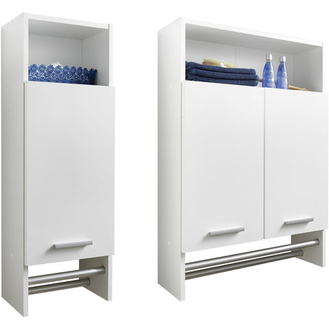 """Motril"" Bathroom Cabinet Cupboard With Shelf & Towel Rail. White"