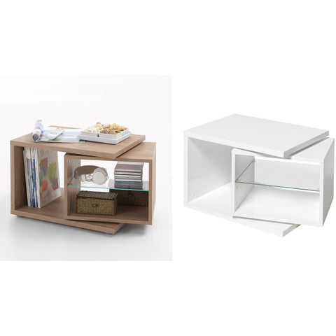 """Nele"" Designer Side/End/Coffee Table With Rotating Element & Glass Shelf."