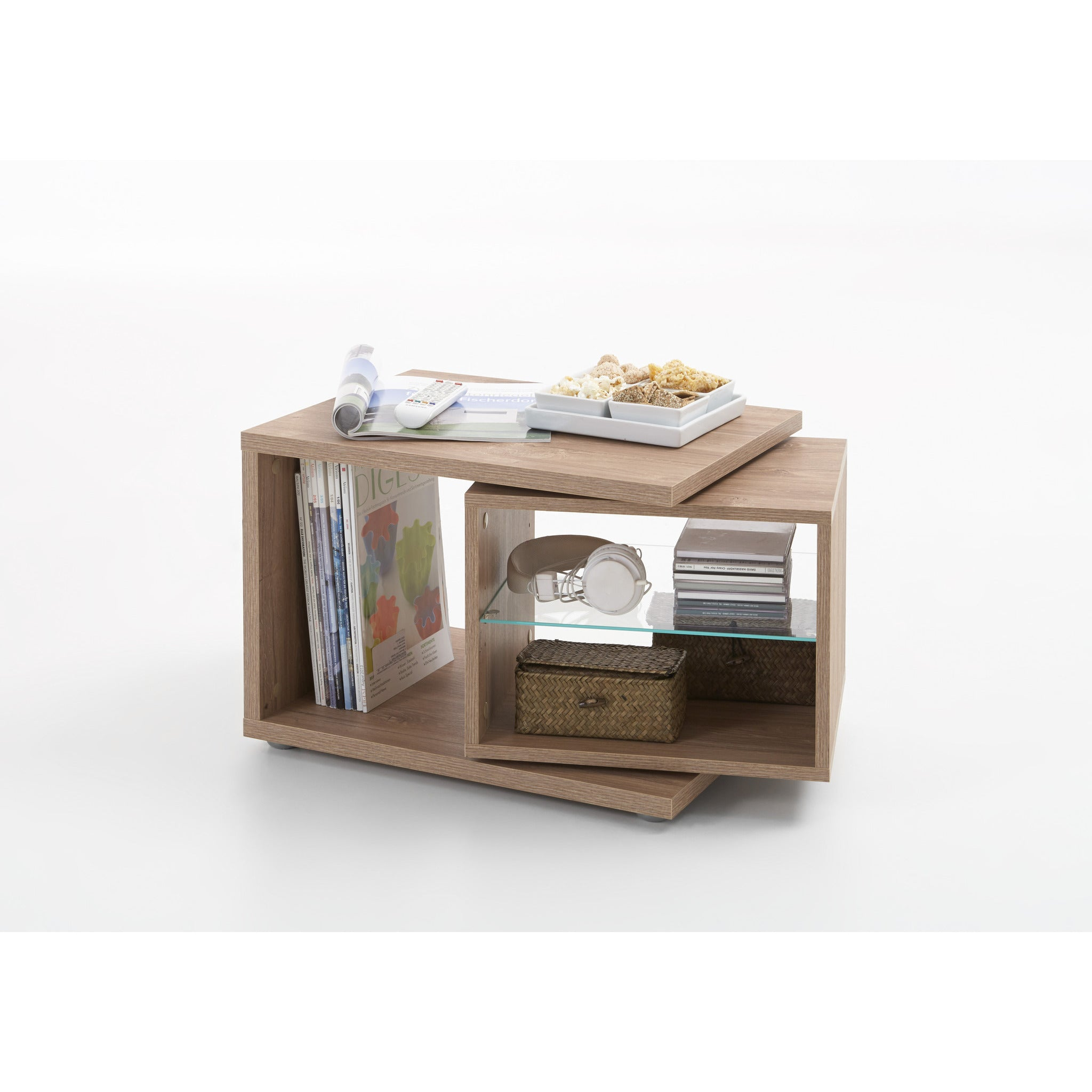 """Nele"""" Designer Side End Coffee Table W Rotating Element & Glass"""