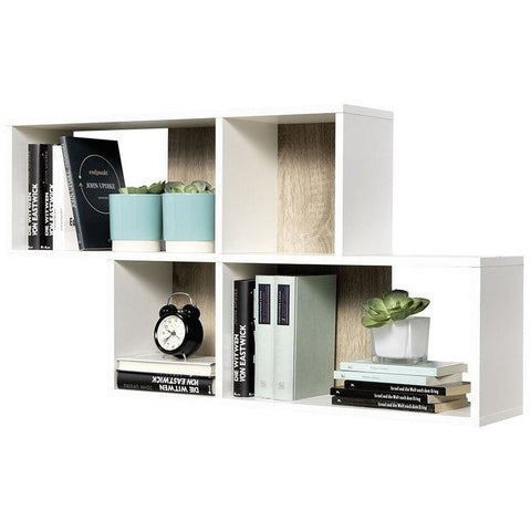 """Nora"" Staggered Display Shelving. Decorative Designer Wall Shelf. White & Oak"