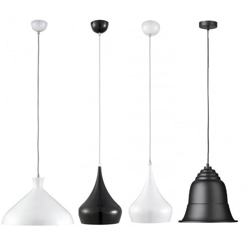 Searchlight Adjustable-Height Ceiling Pendant Lights White Black Glass, [product_variation] - Freedom Homestore