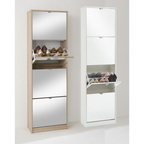 """Penny-5"" Mirrored Shoe Storage Cabinet Range. 16-24 Pairs. Choice of Colour."