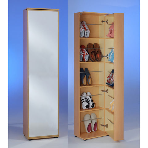 """Penny 8"" Tall Mirrored Shoe Storage Cabinet. 20 Pairs, For Large Shoes. Beech."