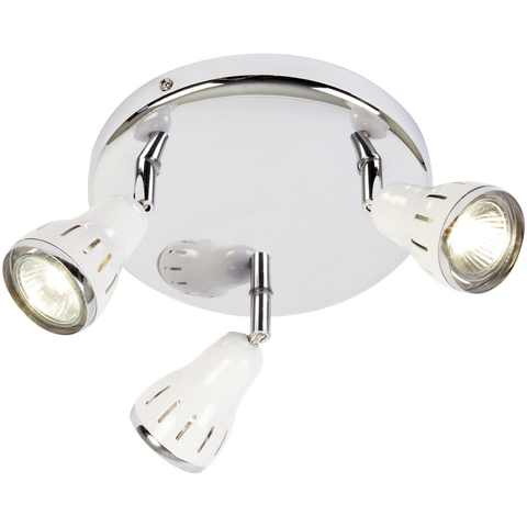 *Clearance* Endon Rossi 3 Spot Chrome Spotlights in White Trim