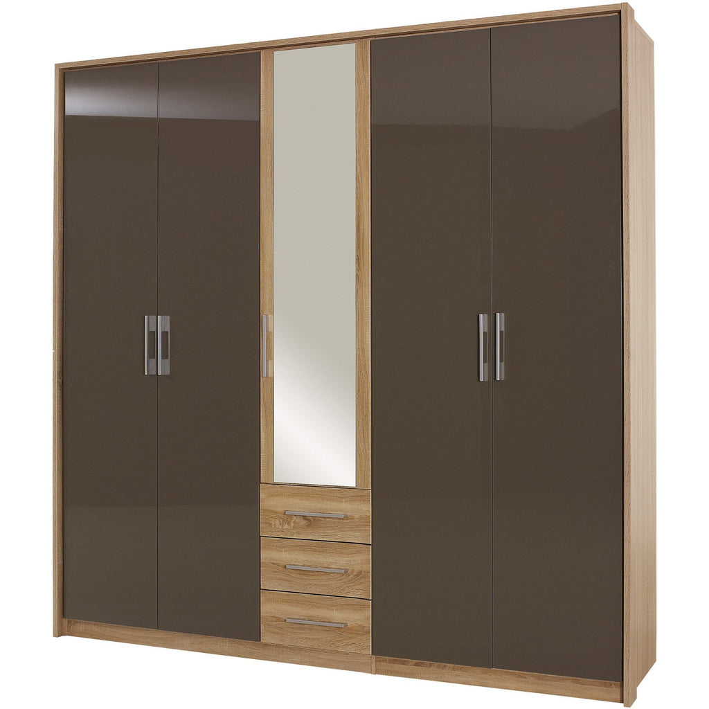Rauch 'Lyon' Range German Made Bedroom Furniture. Oak & HighGloss Lava Brown, [product_variation] - Freedom Homestore