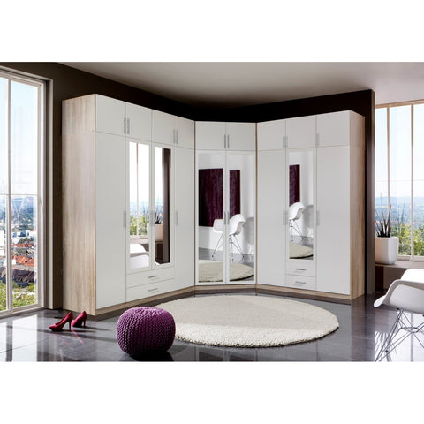 Qmax 'Space' Range. German Made Bedroom Furniture. Alpine White & Washed Oak, [product_variation] - Freedom Homestore