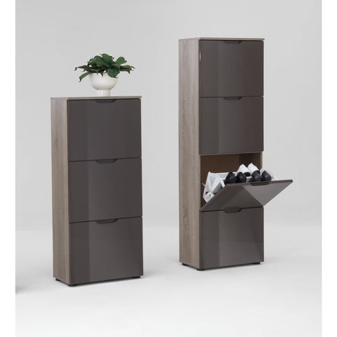 """Scarpe"" Shoe Storage Cabinet/Cupboard, Shoe Rack. Dark Oak & Gloss Lava, [product_variation] - Freedom Homestore"