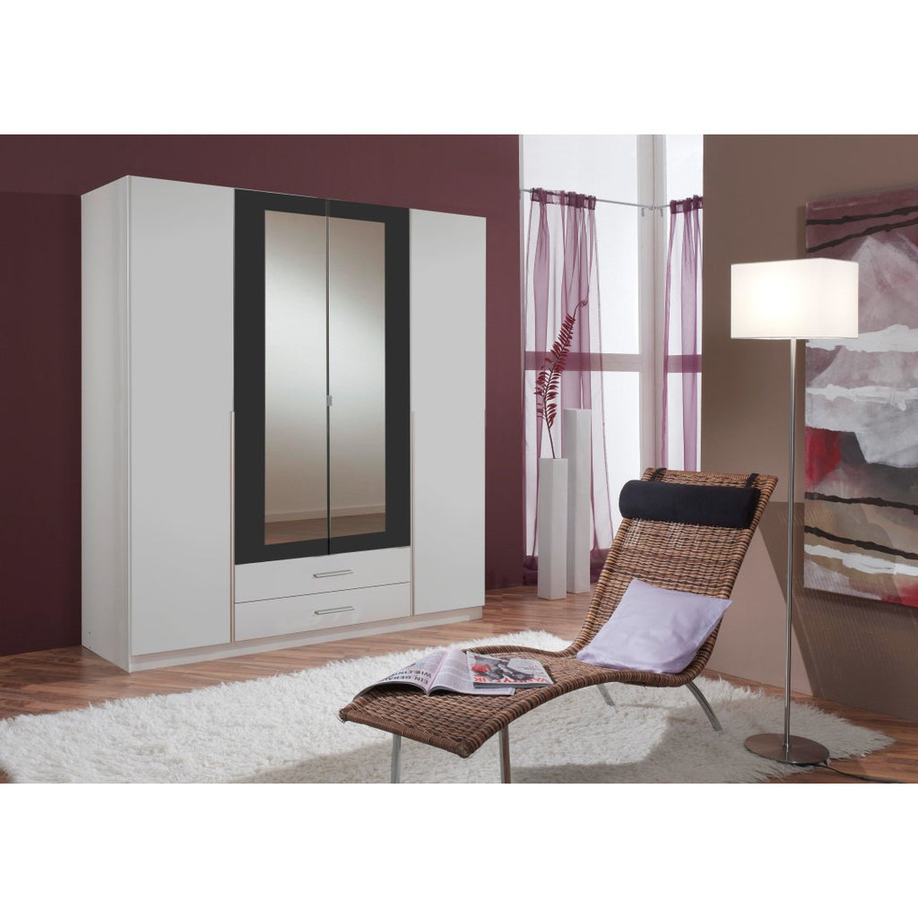 ASSEMBLY INCLUDED Qmax 'Skate' Mirror Wardrobe. German Bedroom Furniture. White & Anthracite, [product_variation] - Freedom Homestore