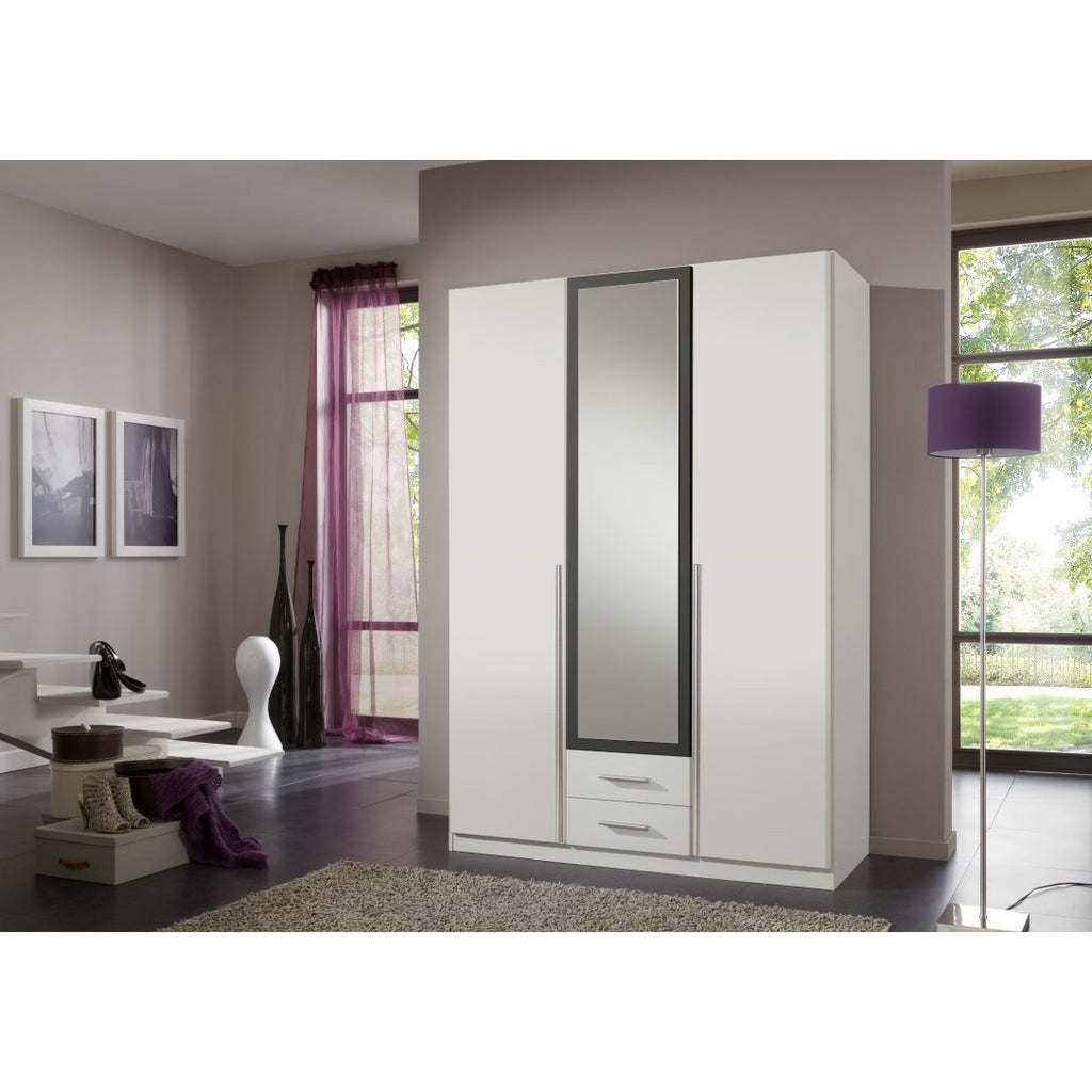 Qmax 'Skate' Mirror Wardrobe. German Made Bedroom Furniture. White & Anthracite, [product_variation] - Freedom Homestore