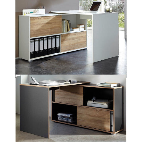 Germania 'Slide' Reversible-Door L-Shape PC Computer Corner Desk With Storage
