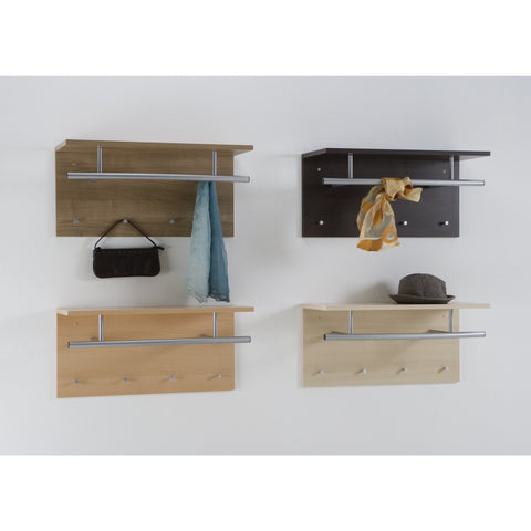 "Wall Mounted Coat Stand Hat Rack, Shelf Rail & Hooks ""Spot"""
