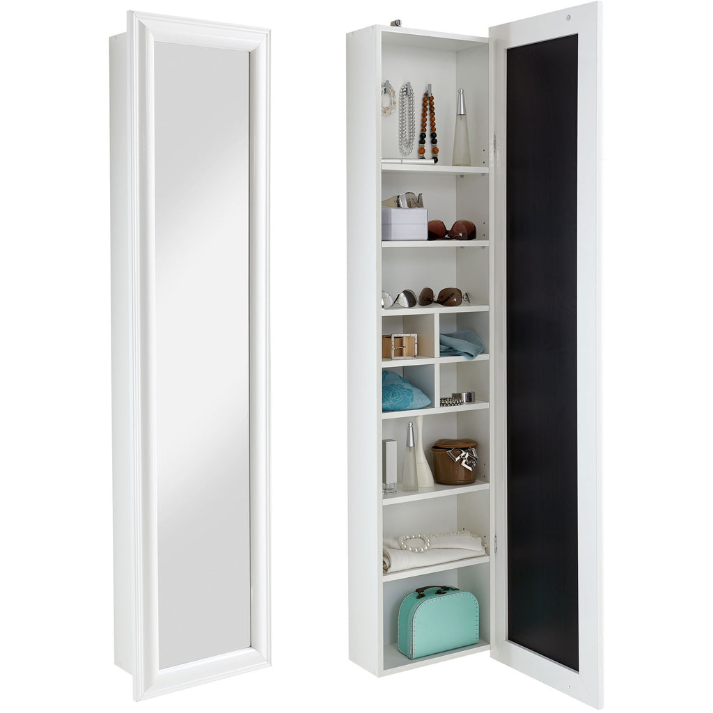 """Tara"" High Gloss White Wall-Mounted Tall Vanity Mirror & Jewellery Cabinet, [product_variation] - Freedom Homestore"