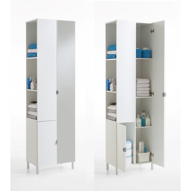 """Tarragona-2"" White Floor Cabinet. Tall Corner Cupboard With Mirror & Storage., [product_variation] - Freedom Homestore"