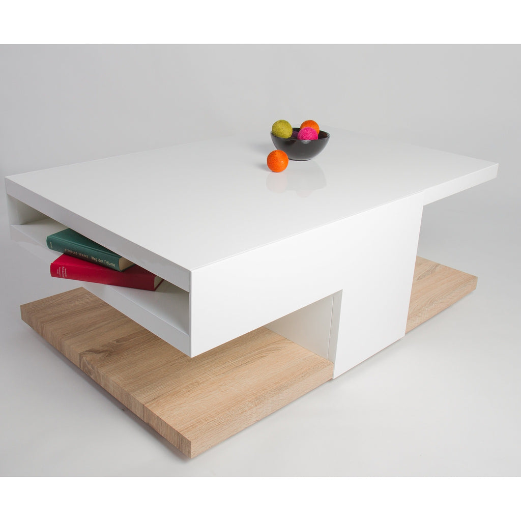 "MCA ""Aaron"" High-Gloss White & Oak Designer Coffee Table With Storage, [product_variation] - Freedom Homestore"