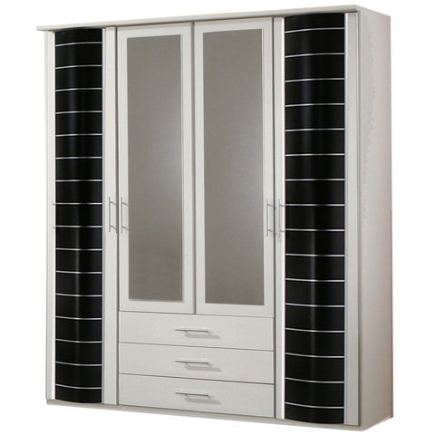 Qmax 'Eve'' Range German Made Bedroom Furniture. White w/ Black Drum Doors., [product_variation] - Freedom Homestore