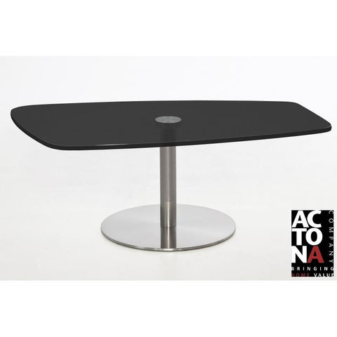 "*Clearance* Actona ""Becky"" Organic Designer Black Glass & Chrome Coffee Table."