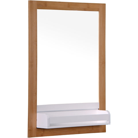 "Blue Canyon""Bambus"" BF14196, Bathroom Mirror in Bamboo With White Shelf"